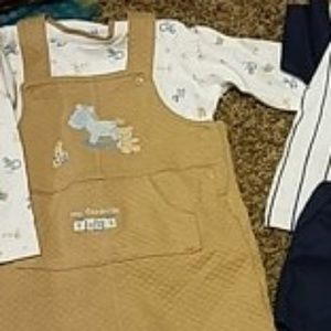 6-9 month tan overalls outfit